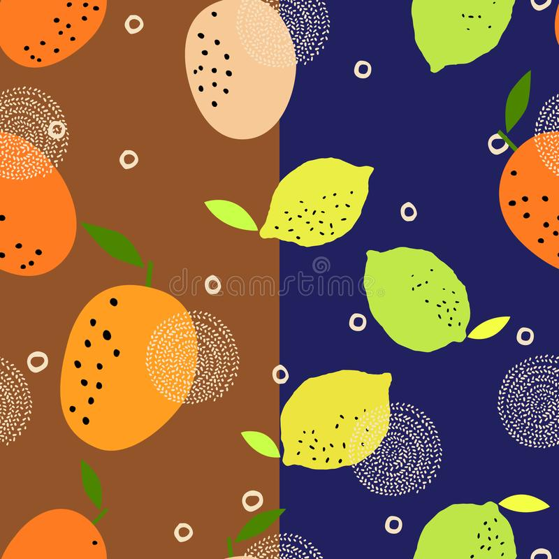 Seamless pattern with citrus fruits collection. Fresh lemons and oranges background. Colorful wallpaper vector.  Decorative illustration, use for printing royalty free illustration