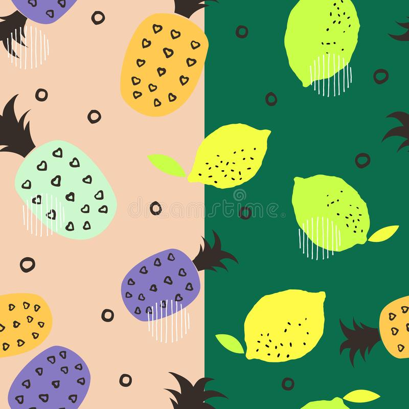 Seamless pattern with citrus fruits collection. Fresh lemons and pineapples background. Colorful wallpaper vector. Decorative illustration, use for printing royalty free illustration