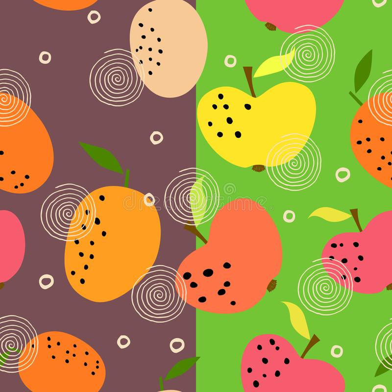 Seamless pattern with citrus fruits collection. Fresh oranges and apples background. Colorful wallpaper vector. Decorative illustration, use for printing stock illustration