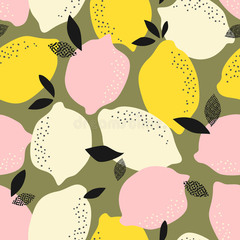 Seamless pattern with citrus fruits. Vector illustration stock illustration