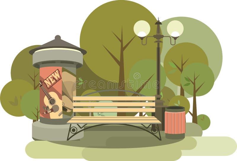 Seamless pattern of city park royalty free illustration