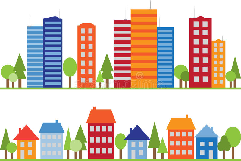 Seamless pattern of city, town or village. With trees royalty free illustration