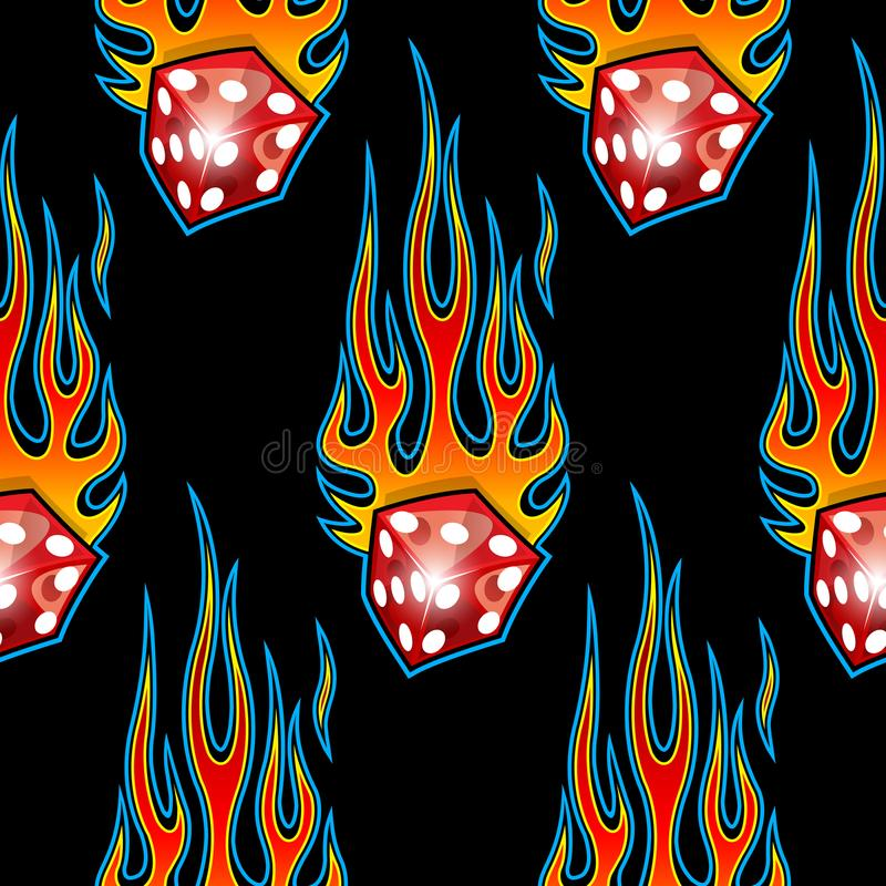 Seamless pattern with classic tribal hotrod muscle car flames and dice graphic isolated on black background. vector illustration