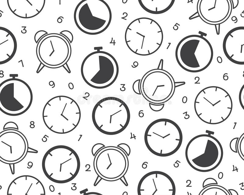 Seamless pattern of clock timer icon with number on white background stock illustration
