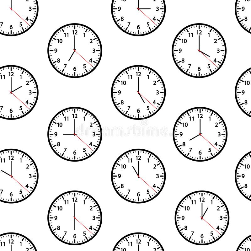 Seamless pattern with clocks showing different time. Vector illustration stock illustration