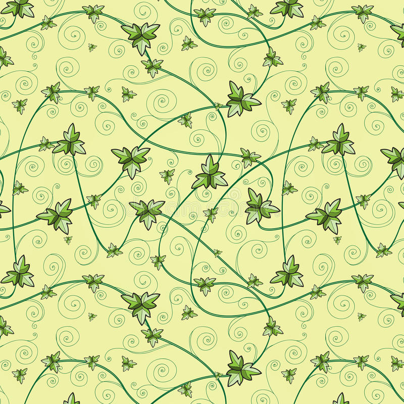Seamless pattern with clover leaves. Dark background. stock photo