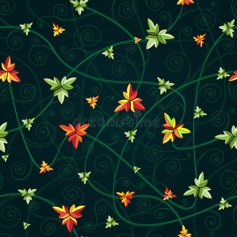 Seamless pattern with clover leaves. Dark background. Seamless pattern with clover leaves for st.Patrick's Day. Dark background vector illustration