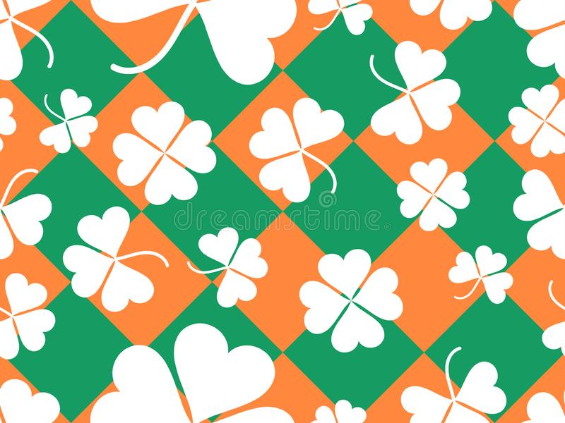 Seamless pattern with clover leaves. St. Patrick`s Day background with shamrock. Vector. Illustration stock illustration