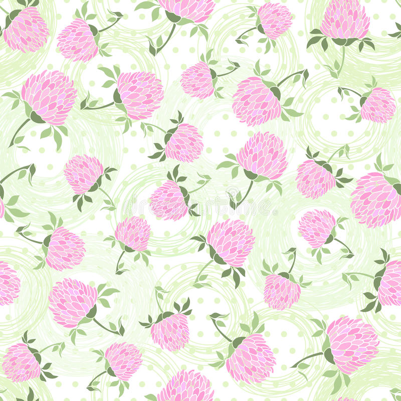 Seamless pattern with clover on the polka dots background. Endless pattern with clover and hand draw a circle on polka dots background royalty free stock photography