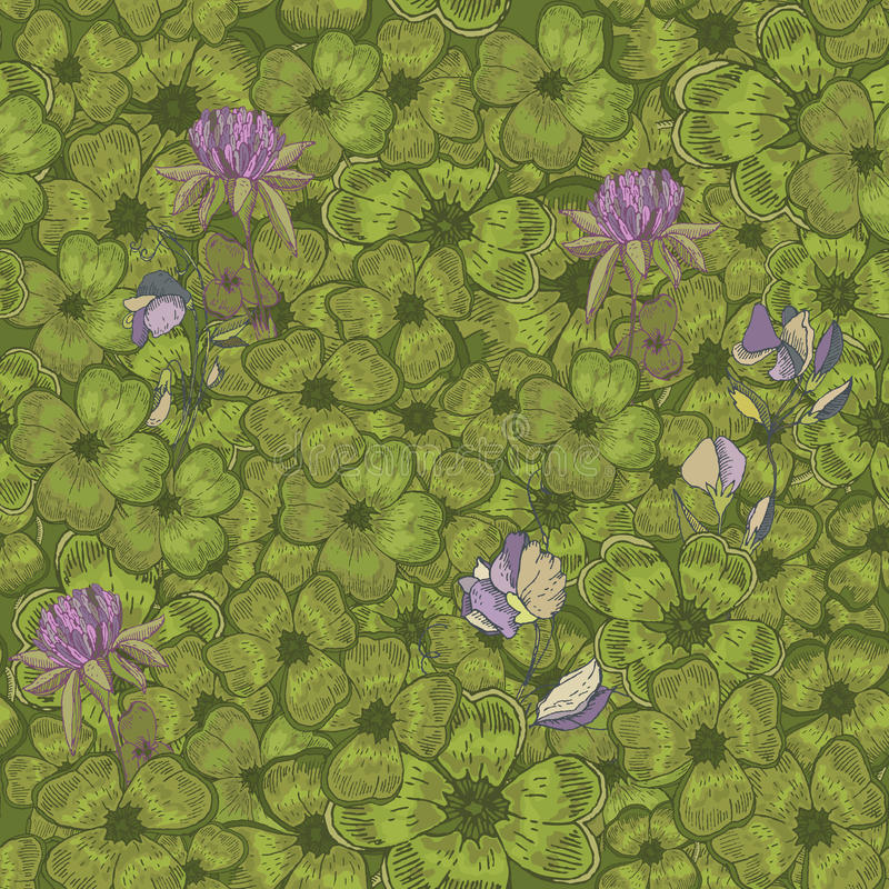 Seamless pattern with clover. St. Patrick day background. royalty free illustration