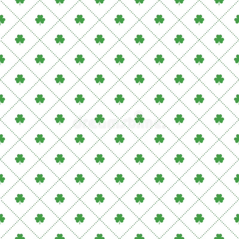 Seamless pattern with clovers leaves and stripes in rhomb shape for design of St. Patricks Day items. stock illustration