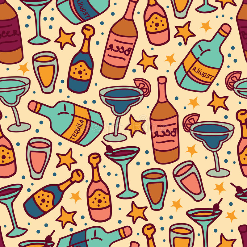 Seamless pattern with cocktails and bottles of alcohol, cartoon style. Vector illustration vector illustration