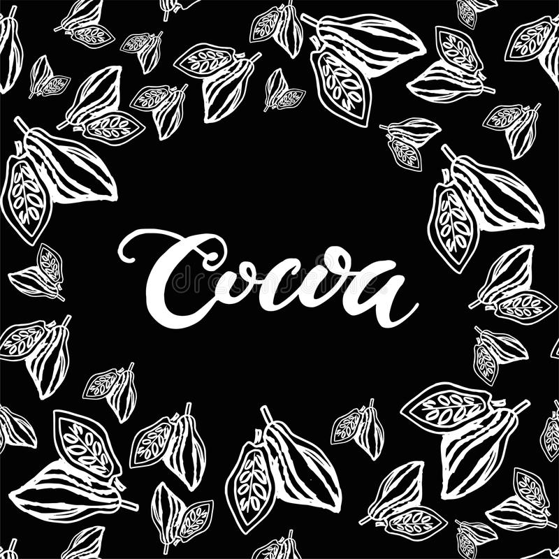 Seamless background with cocoa beans. Cute doodle illustration. stock illustration
