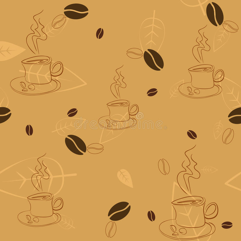 Download Seamless Pattern With Coffee Beans, Cups And Leaves Stock Vector - Illustration of background, coffee: 39506243