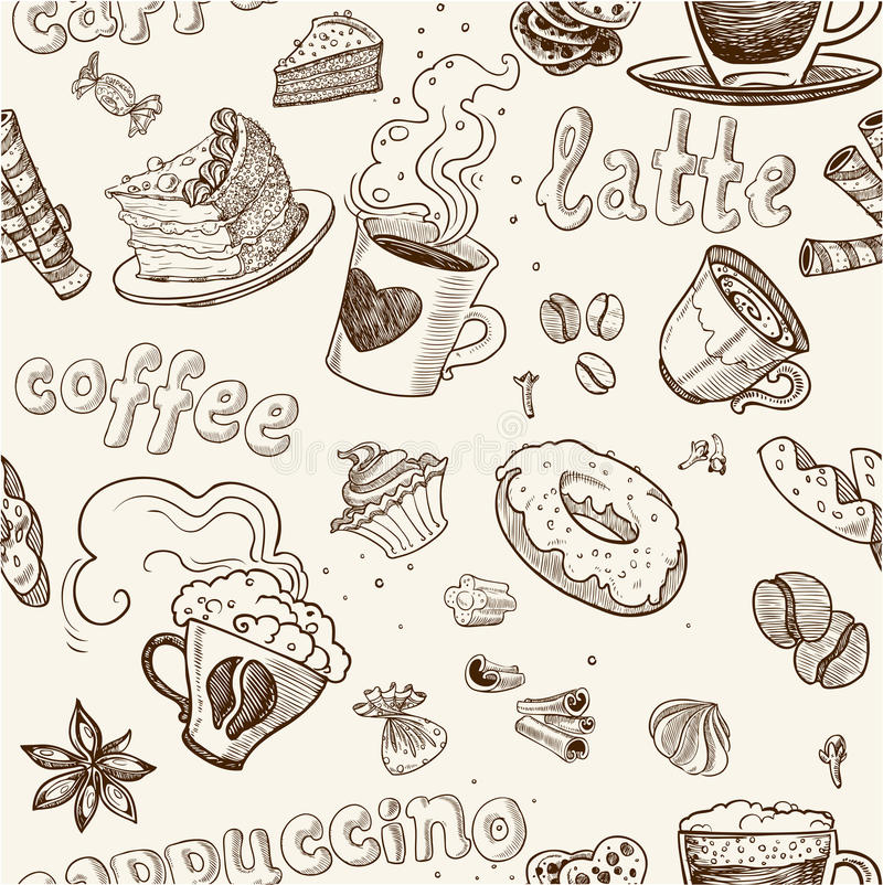 Seamless pattern with coffee cakes pies and latte royalty free stock images