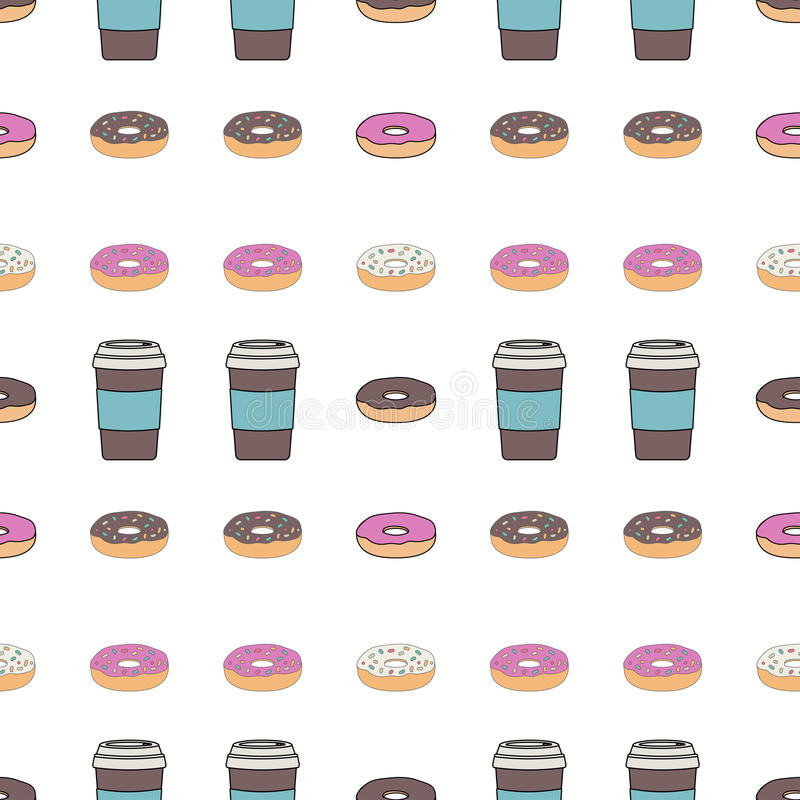 Seamless pattern. A coffee Cup with a lid and a glazed donut. Breakfast in the cafe. Vector illustration stock illustration