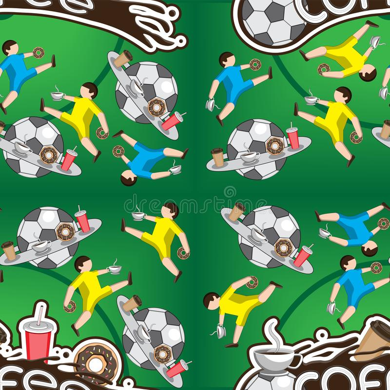 Seamless pattern. Coffee football. Football players lettering letters donut ball liquid Cup play. Vector illustration stock illustration