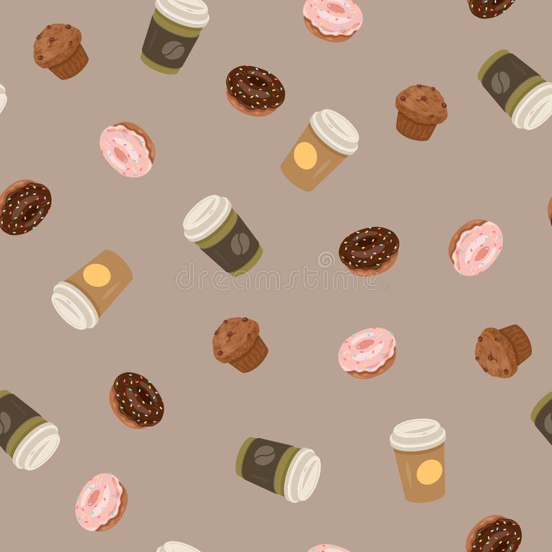 Seamless pattern with coffee paper cups, donuts and muffins. Vector illustration stock photos