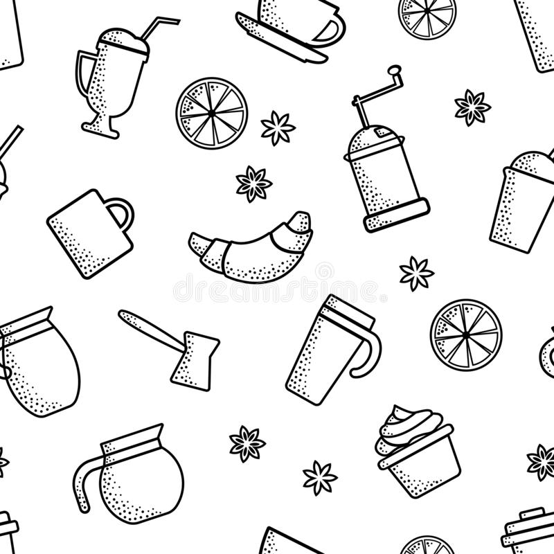 Seamless pattern on coffee theme. Outline design. Black objects on white background. Vector royalty free illustration