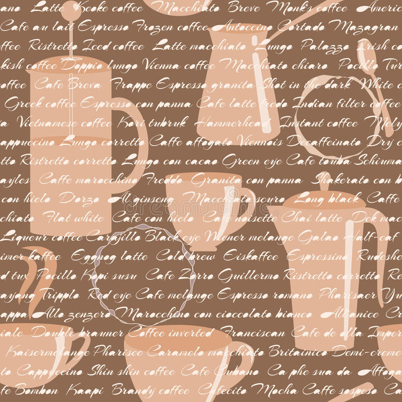 Download Seamless Pattern With Coffee Types Text Stock Photo - Image of french, menu: 34728064