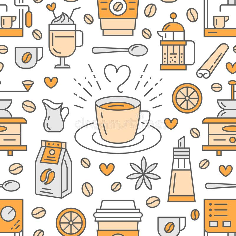 Seamless pattern of coffee, vector background. Cute beverages, hot drinks flat line icons - coffeemaker machine, beans. Cup, grinder. Repeated texture for cafe stock illustration