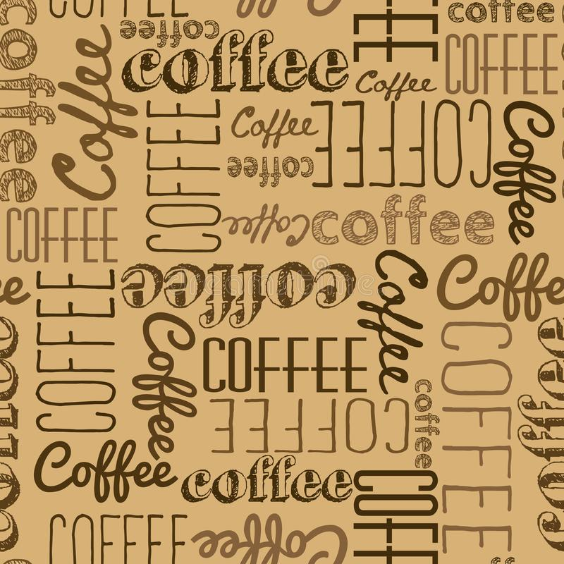 Seamless pattern of coffee words. Dark brown inscriptions on a l. Ight brown background. Coffee colors Chaotically scattered words of different fonts. Background royalty free illustration