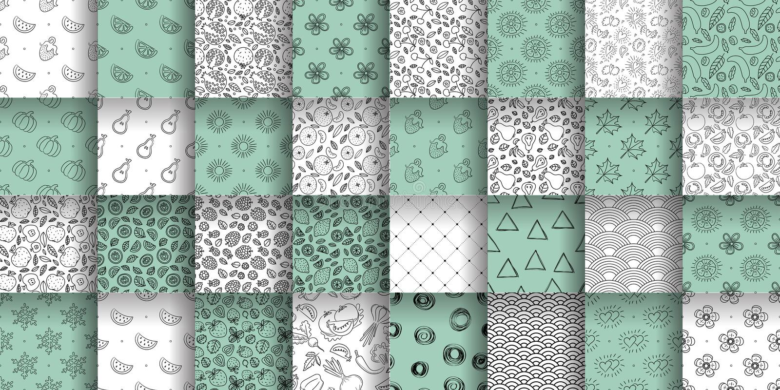 Seamless pattern collection. Color vector background set. Floral, fruit, abstract texture group. Hearts, sun, wave, lemon, stock illustration