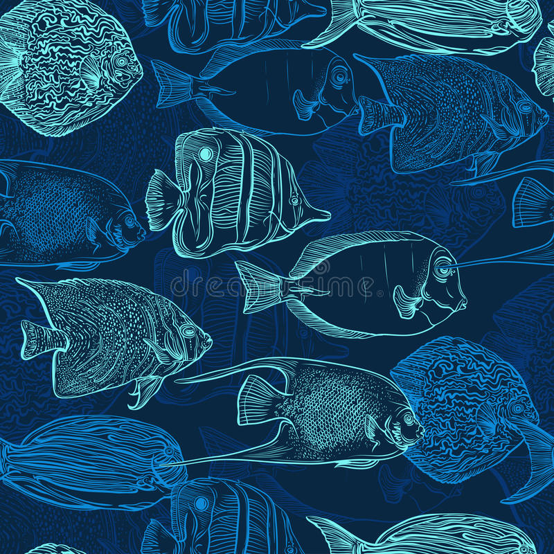 Seamless pattern with collection of tropical fish. Vintage set of hand drawn marine fauna. Vector illustration in line art style. Design for summer beach stock illustration