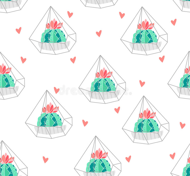 Seamless pattern with color cactus in terrarium and hearts on white background. Ornament for textile and wrapping. Vector.  royalty free illustration