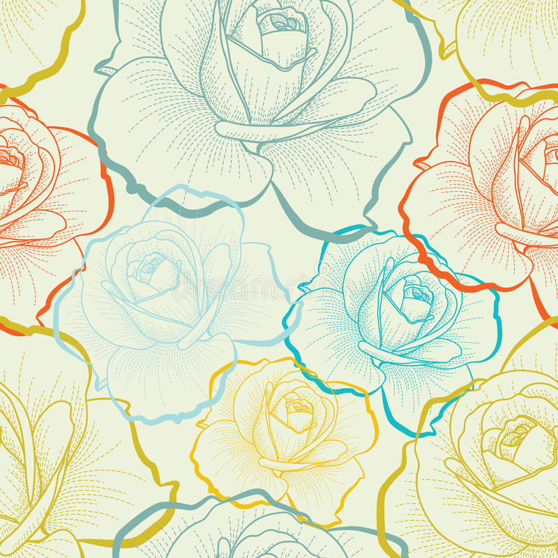 Seamless pattern with color hand drawing roses royalty free illustration