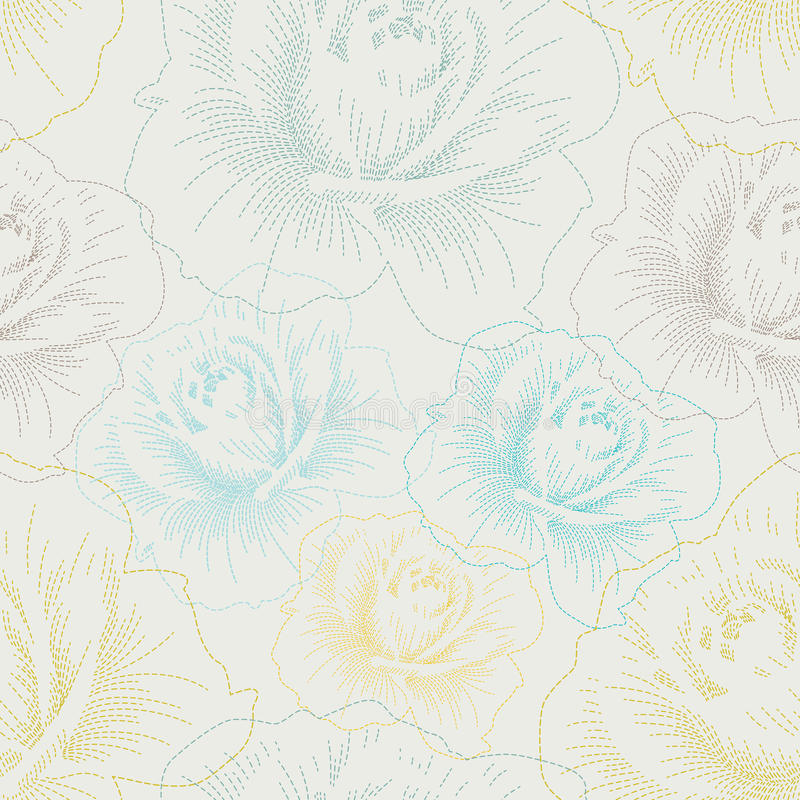 Seamless pattern with color hand drawing roses vector illustration