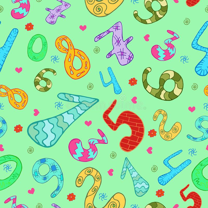 Seamless pattern with color hand drawn cartoon numbers. royalty free illustration