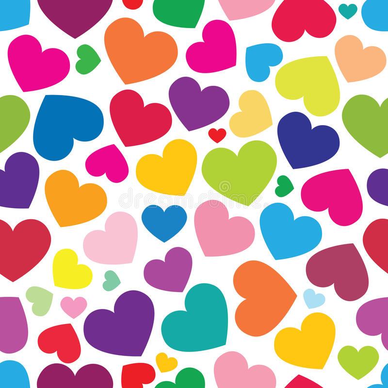 Seamless pattern of color hearts. The seamless pattern of color hearts royalty free illustration