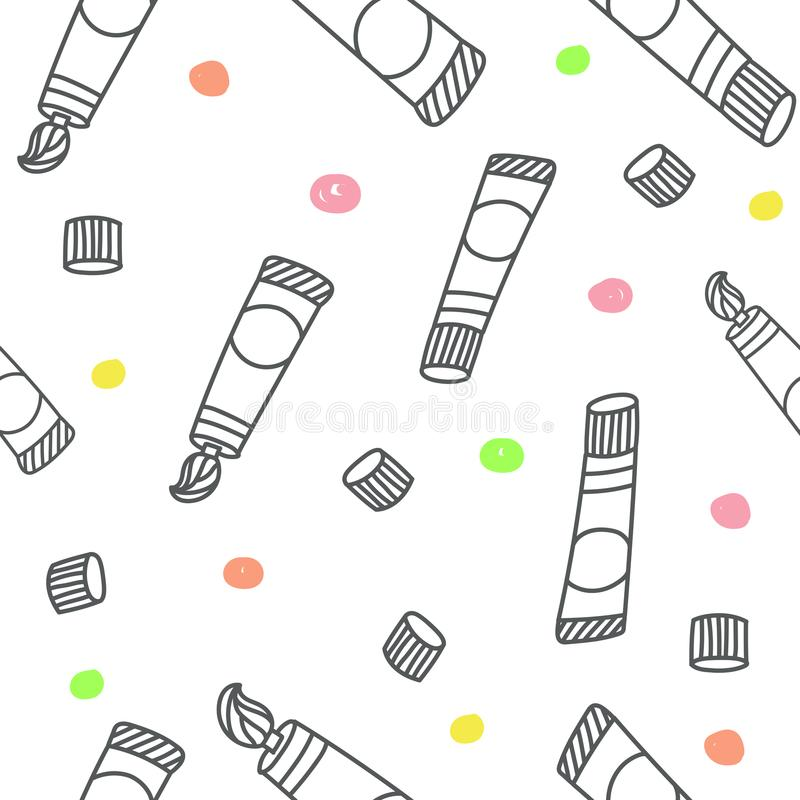 Seamless pattern with color tube hand drawn doodle style. Vector royalty free illustration