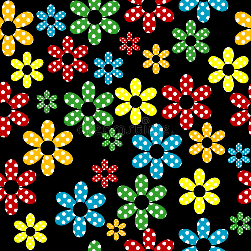 Seamless pattern with colored dotted flowers stock illustration