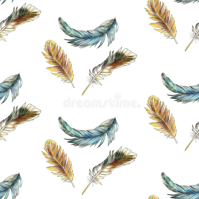 Seamless pattern of colored feathers painted in watercolor royalty free illustration
