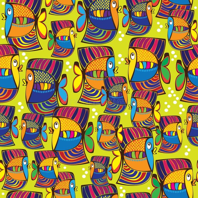 Seamless pattern colored fish stock illustration