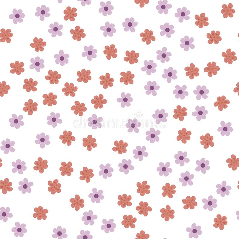 Seamless pattern of colored flowers on a white background. vector illustration