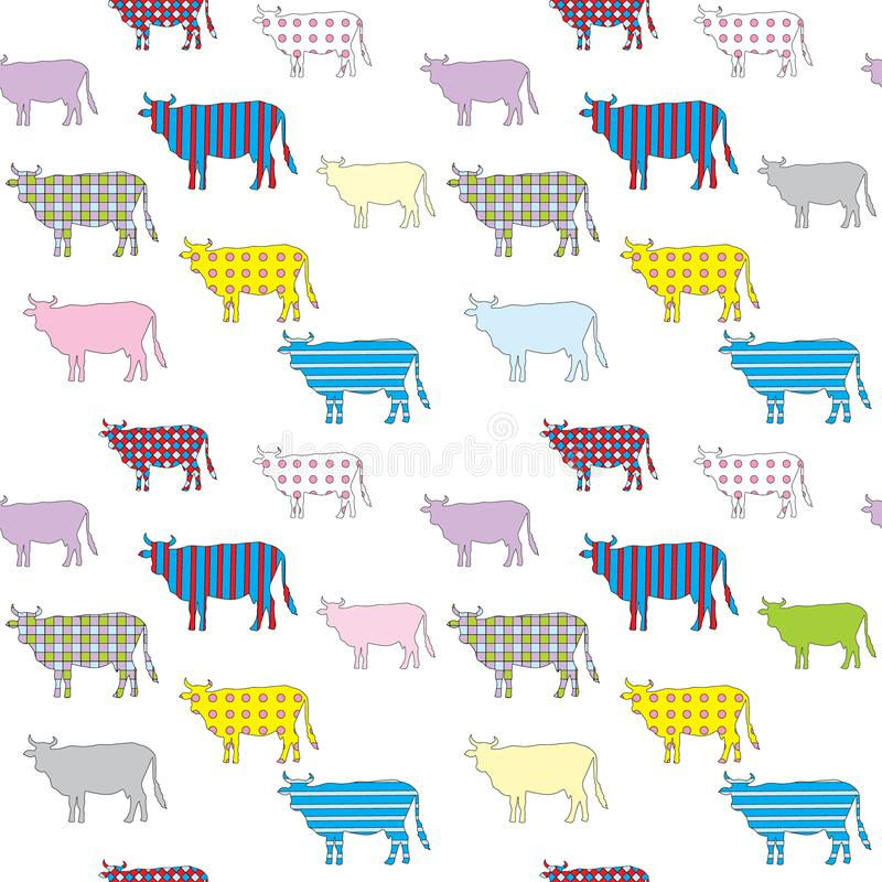 Seamless pattern with the colored image of silhouettes of cows stock illustration