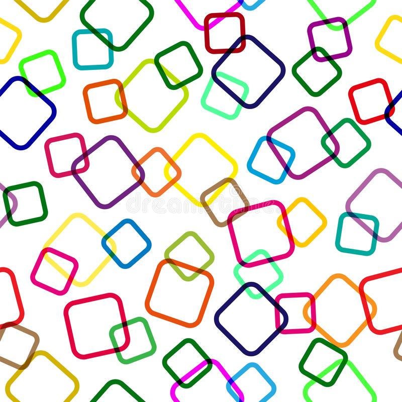 Seamless pattern of colored intersecting squares, transparent background, modern random colors vector illustration