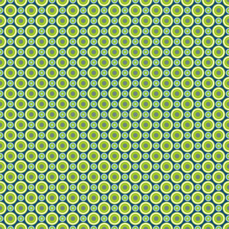 Seamless pattern - colored pastel green-yellow and blue circles on a dark blue background. EPS Vector file. Suitable for filling any form stock illustration