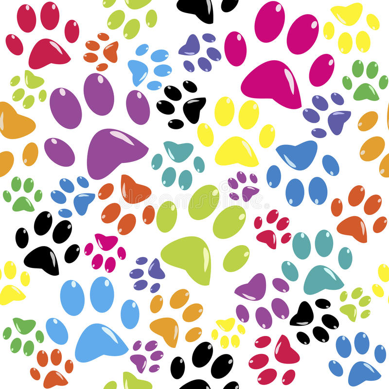 Seamless pattern with colored paws stock illustration