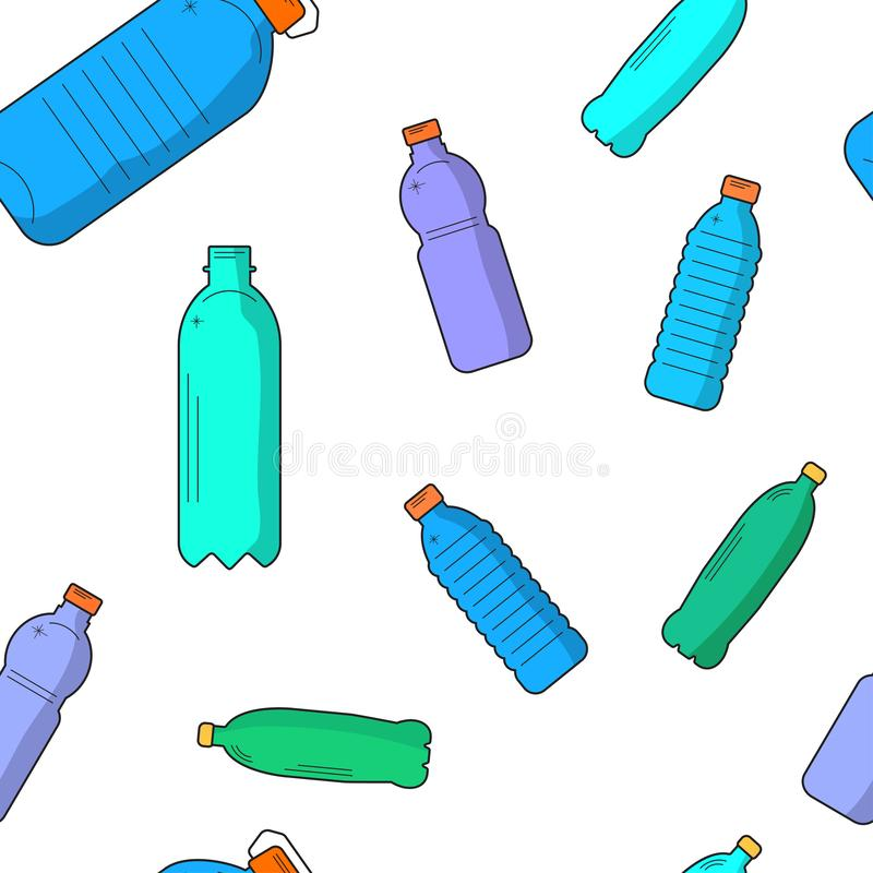Vector plastic recyclable items. Seamless pattern with colored plastic bottles vector illustration