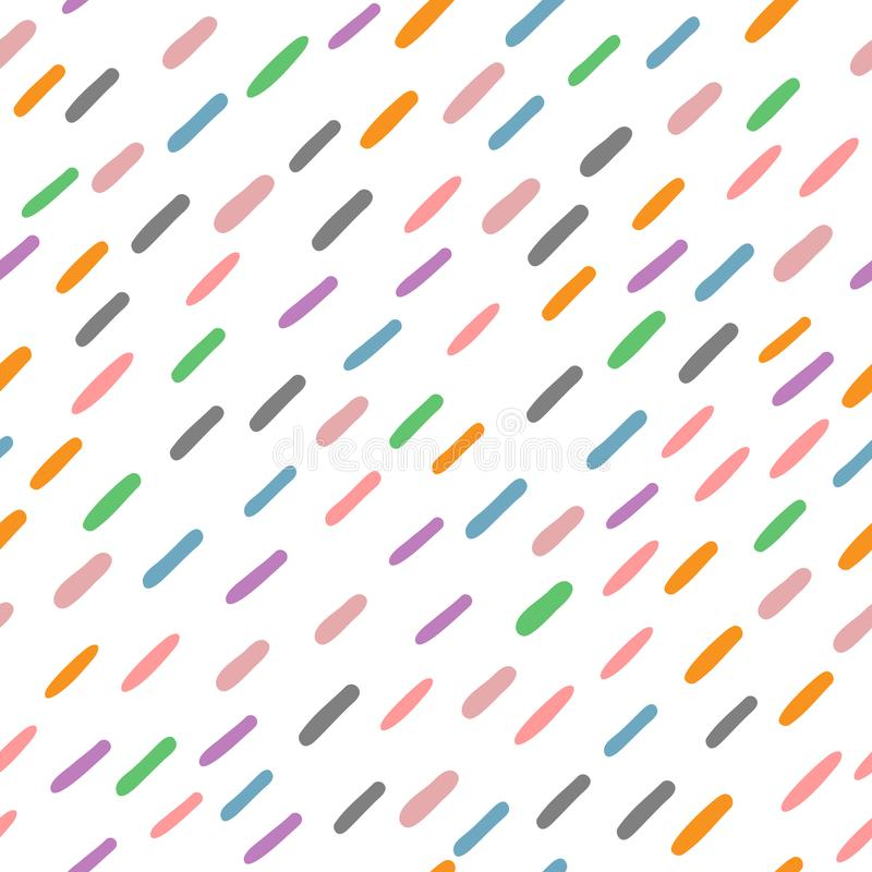 Seamless pattern with colored short lines drawn by hand. Trendy sketch, doodle. vector illustration