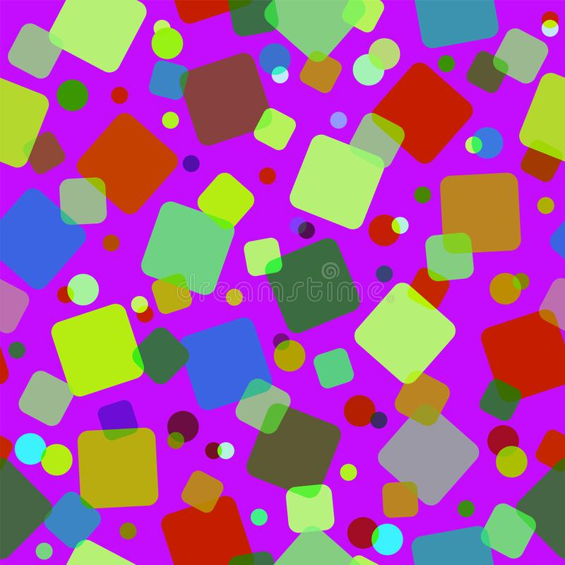 Seamless pattern with colored squares and circles. Modern random colors vector illustration