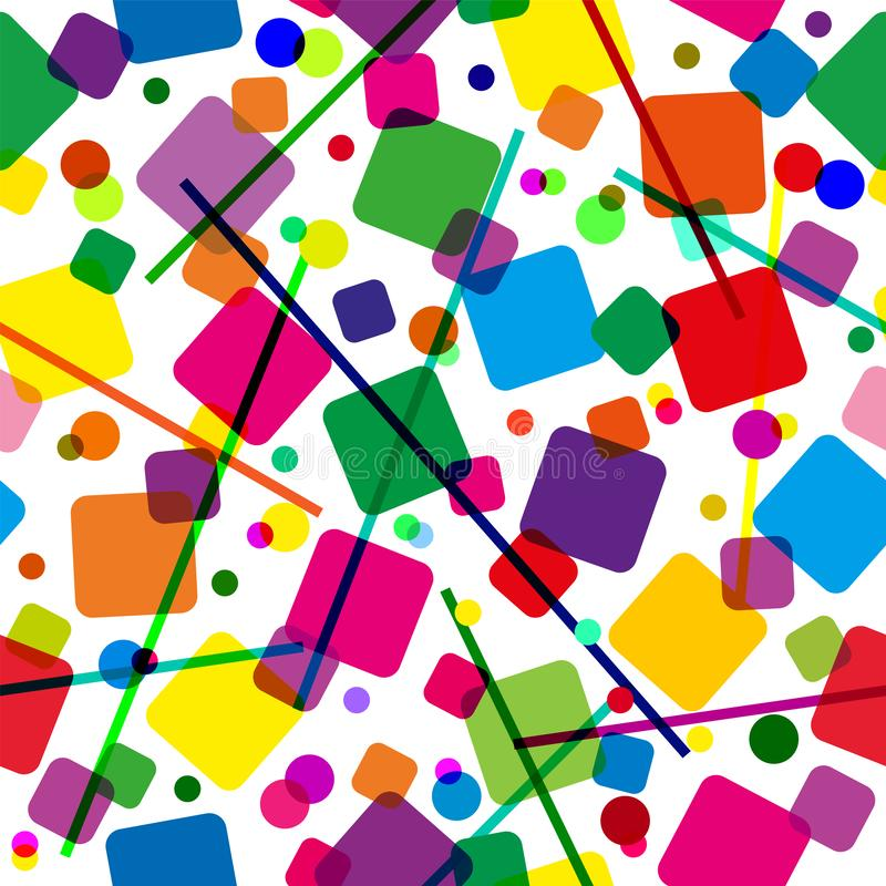 Seamless pattern with colored squares, lines and circles. Modern random colors stock illustration