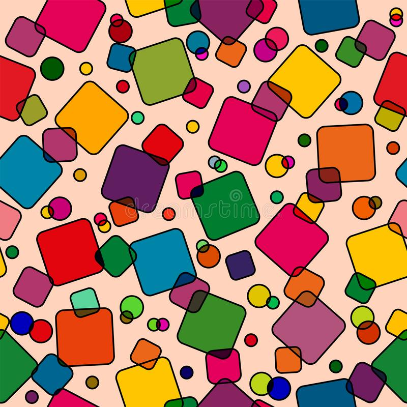 Seamless pattern with colored squares. Modern random colors royalty free illustration