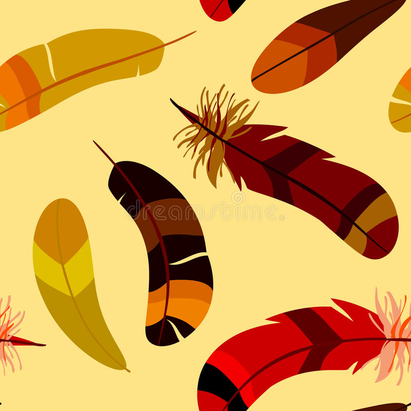 Seamless pattern with colored stylized feathers stock illustration