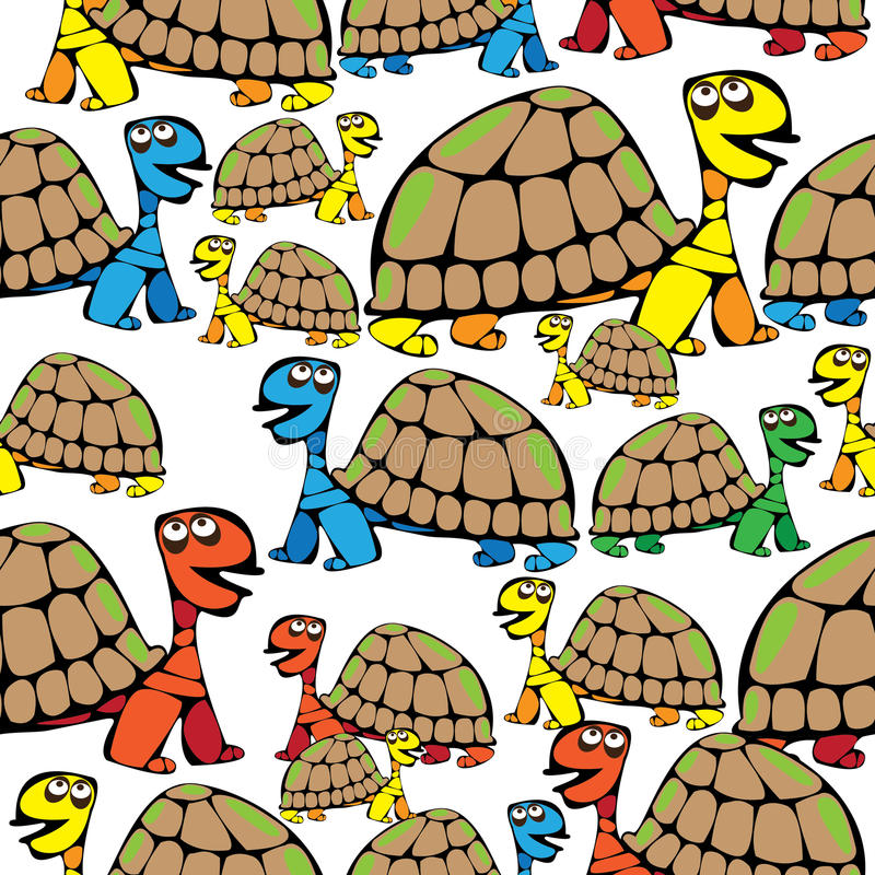 Seamless pattern colored turtle vector illustration