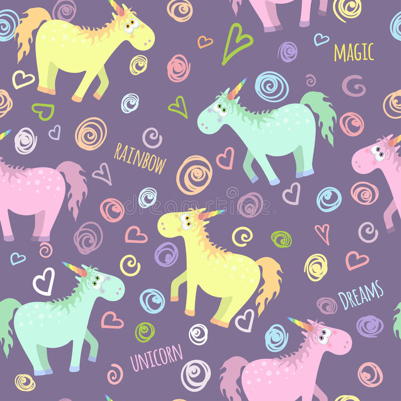 Seamless pattern with colored unicorn vector illustration